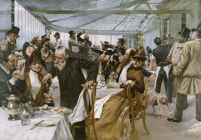 Skandinaviska konstnärernas frukost i Café Ledoyen, Hugo Birger 1886, Wikipedia/nationalmuseum.se