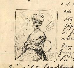 Skiss till Rödhårig modell med japansk solfjäder, Albert Edelfelts brev till Alexandra Edelfelt 8.4.1879, SLS