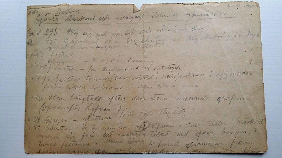Sida ur Beda Stjernschantz anteckningar i ett skisshäfte. (SLSA 1368 Beda Stjernschantz arkiv)